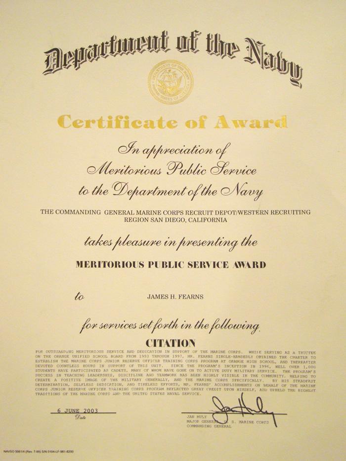 Ranks In Marine >> Marine Corps Meritorious Public Service Award